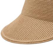 Women Fashion Straw Hats Stripe Pattern Breathable Flexible Leisure Empty Top Hat