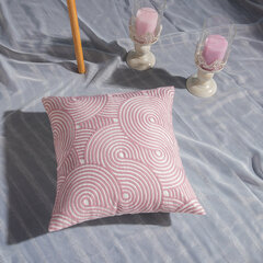 Pink Hand Knitting Pattern Linen Pillow Case Home Fabric Sofa Mediterranean Cushion Cover