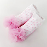 Pink Sweet Style Cotton Newborn Baby Girls Short Floor Socks For 0-18M