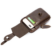 EKPHERO Vintage Genuine Leather Business Casual Waist Bag Phone Bag For Men