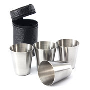 4Pcs Camping Travel Stainless Steel Shot Cup Set With PU Leather