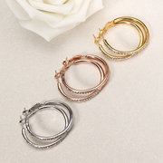 JASSY Simple Stylish Earrings Big Circle Gold Rose Gold Silver Zirconia Earrings for Women