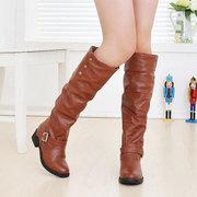 كبيرة الحجم الدافئة كعب مربع مشبك الركبة أحذية عالية