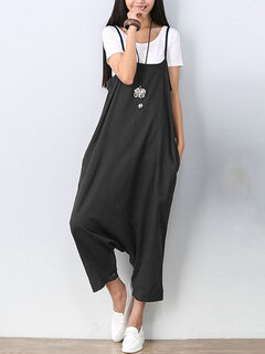 Women Solid Harem Pants Strap Two Ways Wear Jumpsuit Overall