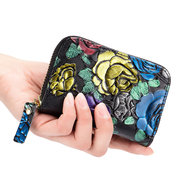 RFID Mulheres Couro Genuíno Embossed Print Carteira 10 Card Slot Coin Purse