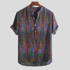 Mens Ethnic Style Printed Stand Collar Colorful Stripe Short Sleeve Loose Henley Shirts