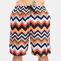 Mens Striped Colorful Print Long Board Shorts Thin Quick Dry Leisure Beach Shorts With Pockets