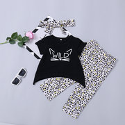 3Pcs Girls Printed Clothes Set T-Shirt + Long Pants + Headband For 1Y-7Y
