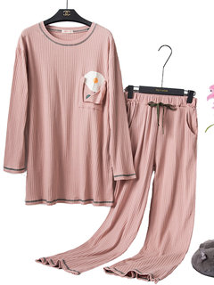Plus Size Home Pajamas Suits Egg Print Striped Cotton Long Sleepwear