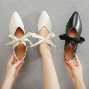 Pointed Single Shoes Female New Casual Flat Peas Shoes Shallow Mouth Work Shoes One Foot Squat Women Shoes