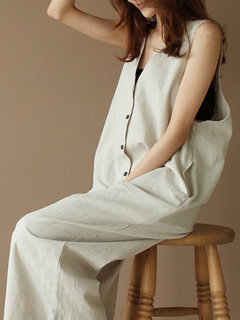 Sleeveless Button Pockets V Neck Jumpsuit