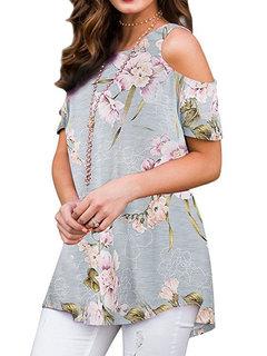 Повседневная блуза с короткими рукавами и принтом с открытыми плечами