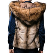 Mens Faux Fur Big Hooded Coat Winter Thickened Warm Fashion Casual Fur Vest