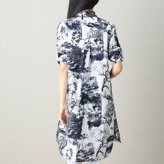Camicia in cotone a maniche lunghe con maniche lunghe in cotone e lino con stampa a inchiostro da donna
