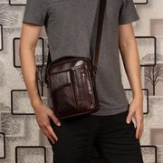 Men Genuine Leather Double Layer Shoulder Bag Crossbody Bag