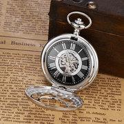 OUYAWEI Vintage Mechanische Taschenuhren Roman Numeraals Zifferblatt Anhänger Uhr Ethnische Schmuck für Männer