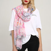 Womens Summer Cotton Chinese Printing Scarves Multi-color Beach Scarf Windproof Casual Soft Scarves