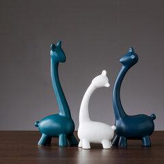 Nórdico Branco Azul Estatuetas De Cerâmica Casa Decoração Artesanato Sala de Estar Animal Ornamentos