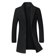 Herren Business Casual Gentleman Like Woolen Trenchcoat Mid-lange Einreiher Slim Fit Coat