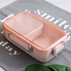 Nordic Style Simple Student Lunch Box Green/Pink/Beige Three Color Three Grids Food Storage Box