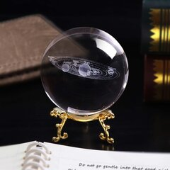 6CM Laser Engraved Solar System Ball 3D Miniature Planets Model Sphere Glass Globe Ornament