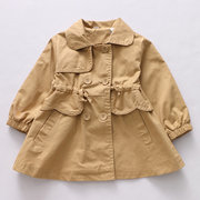 cfc0258a2 Classic Infant Toddler Girl Windbreaker Kids Girls Long Trench Coat for Spring  Autumn 2-9Y