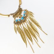 Vintage Statement Necklace Turquoise Leaves Chains Tassels Pendant Necklace Ethnic Jewelry for Women