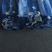 Stars Embroidery Girls Strap Casual Dresses For 3-11Years
