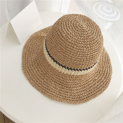 Women Hand Woven Foldable Sweat Breathable Sunshade Hat Outdoor Leisure Fashion Straw Hat