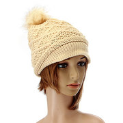 Women Button Crochet Knit Beret Hat Ski Baggy Beanie Ball Wool Cap