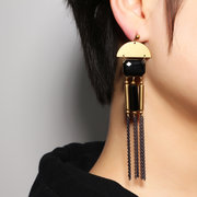 JASSY Vintage Black Agate Earrings Elegant Long Tassel Earrings для женщин