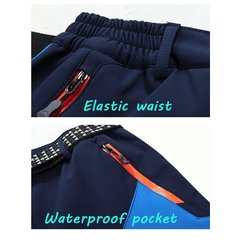 Mens Outdoor Soft Shell Water-repellent Quick-Dry Breathable Stitching Color Sport Pants