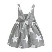 Star / Moon stampa ragazze Casual Vest Dress Sleeveless Abito a vita alta in cotone per le ragazze bambino 2-7