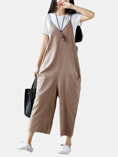 Casual Pocket Solid Color Strap jumpsuit for Women