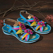 SOCOFY Genuine Leather Splicing Hand Painted Retro Floral Stitching Soft Buckle Strap Sandals