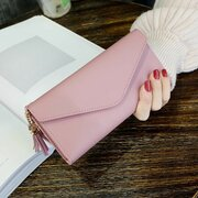 Women Stylish PU Leather Multi-slots Long Wallet Card Holder