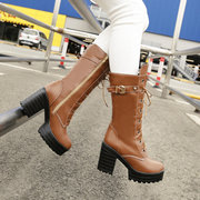 Big Size Chunky Heel Buckle Lace Up Bottes Style Européen