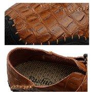 الرجال خياطة اليد نمط التمساح هوك حلقة عارضة الأحذية الجلدية