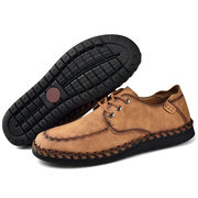 Men Hand Stiching Microfiber Leather Comfortable Casual Shoes