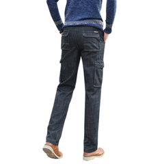 Military Fall Winter Loose Thick Warm Inside Fleece Pockets Straight Jean for Men