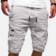 Mens Casual Multi Taschen Kordelzug Taille Outdoor Sports Cargo Shorts