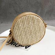Women Straw Tassel Round Bucket Bag Embroidered Beach Bag Shoulder Phone Bag