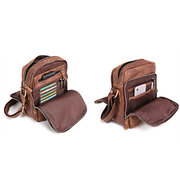 Men Genuine Leather Cowhide Crossbody Bag Vintage Solid Shoulder Bag