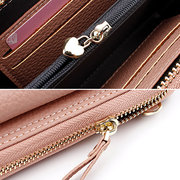 Women Solid Leisure Faux Leather 4 Card Slot Phone Purse Stitching Crossbody Bags