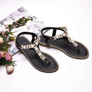 Bohemia Beaded Clip Toe Elastic Band Flat Sandals