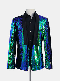 Lentejuelas de doble color para hombre Vestido Traje Stage Boda Banquet Night Club Casual Blazer