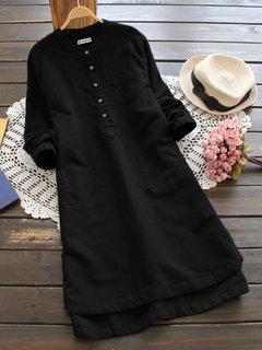 Vestido retro de color puro con botones de manga larga para mujeres