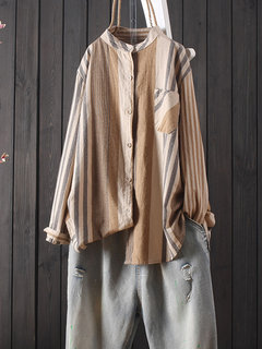 Contrast Color Stripe Long Sleeve Casual Blouse For Women