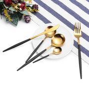 الغذاء الصف 304 غير القابل للصدأ مجموعة أدوات المائدة الصلب الأسود الذهب دون أدوات المائدة غير المشوهة BPA