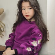 Kids Girls Flower Embroidery Sweatshirts Tops for Winter Fall